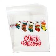 화이트 양말 가랜더 쿠키봉투 10x11 (10장)